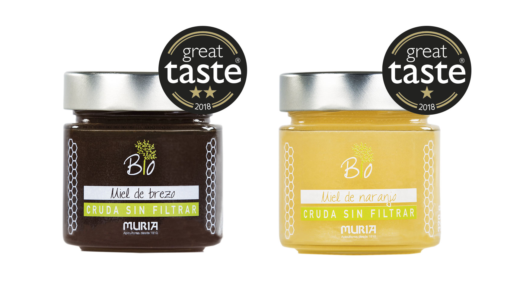Muria Organic Raw Heather and Orange Honey varieties awarded at the Great Taste Awards 2018