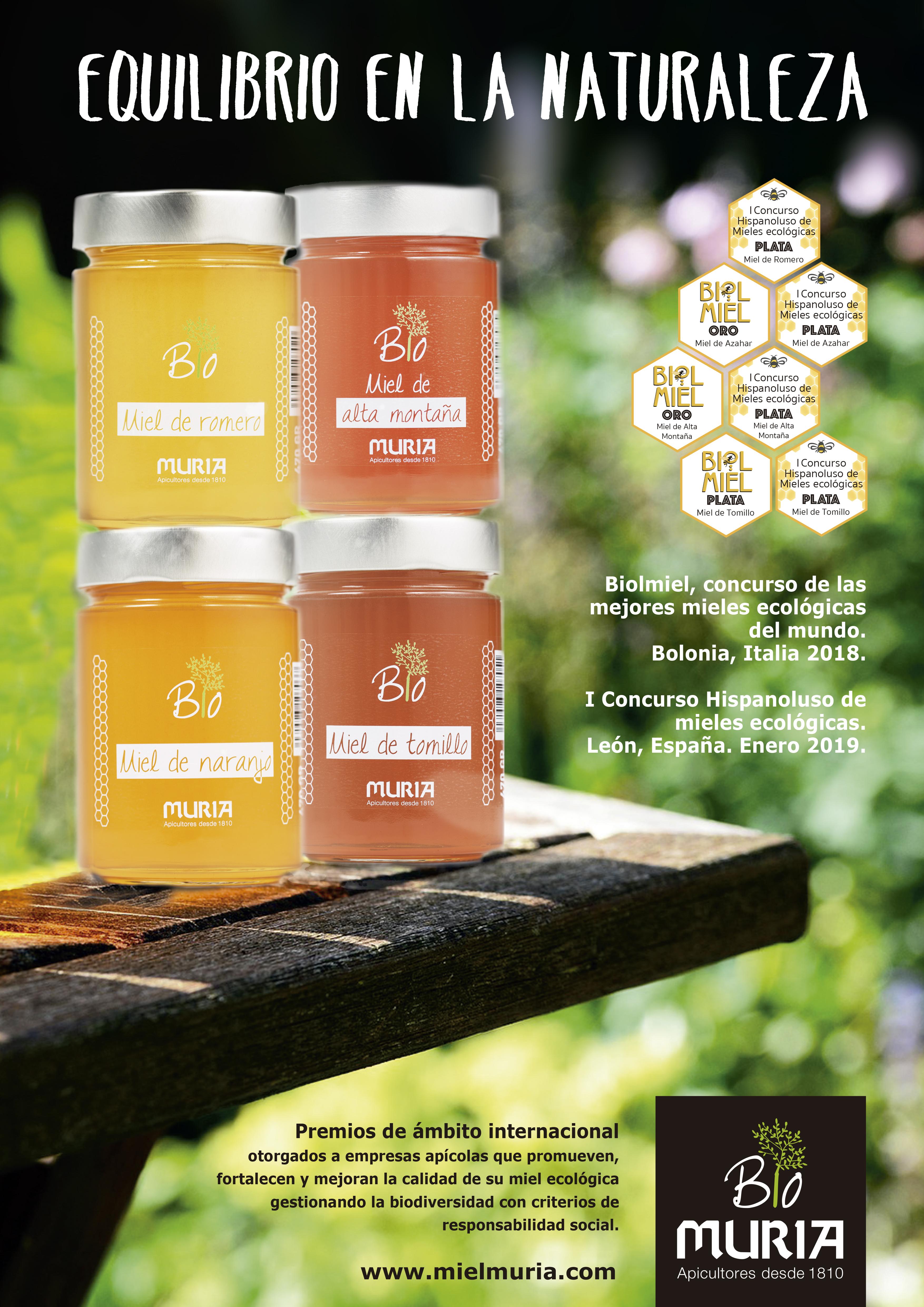 Dos nuevas distinciones internacionales para la colección de miel ecológica Muria BIO