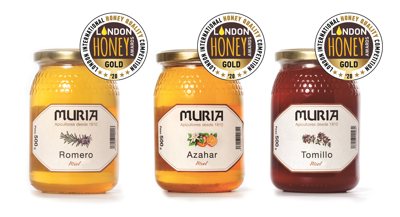 Tres  de las variedades de Miel Muria, naranjo, romero y tomillo, entre las mejores mieles del mundo