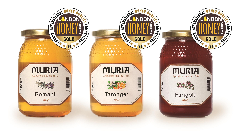 Tres  de les varietats de Mel Muria, taronger, romaní i farigola, entre les millors mels del món