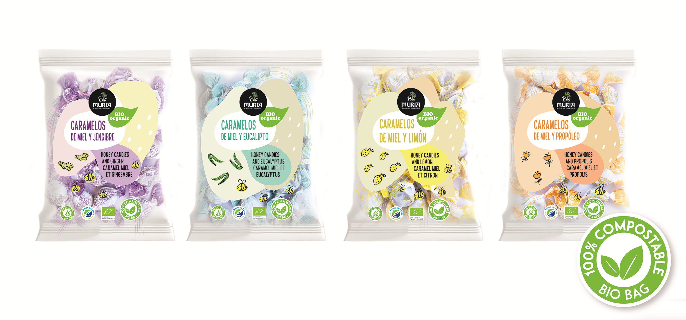 Muria BIO launches the first organic honey candies in Europe with 100% compostable packaging